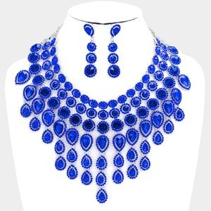 Elegant Sapphire Blue Crystal Choker Necklace Set